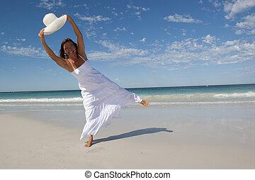 tengerpart, nyár, fehér, nő, ruha