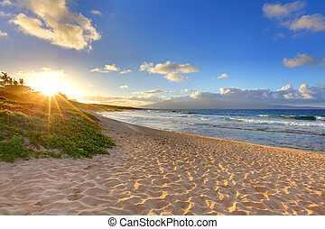 tengerpart, oneloa, hawaii, tropikus, naplemente tengerpart, maui