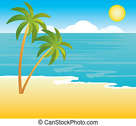 tengerpart, pálma fa