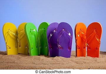 tengerpart, színes, csattogva, sandles, homokos