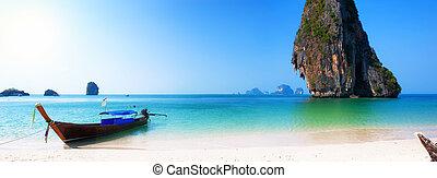 tengerpart., sziget, utazás, ázsia, lesiklik, tropikus, csónakázik, háttér, thaiföld, táj