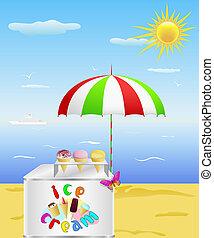 tengerpart., tálca, fagylalt