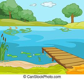tengerpart, tó
