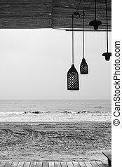 tengerpart, tenger, lakatlan, bár