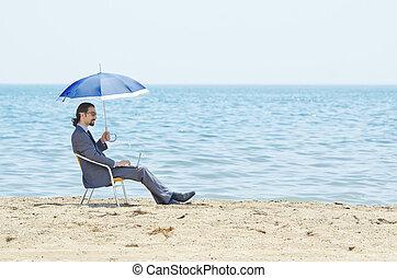 tengerpart, tengerpart, esernyő, ember
