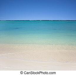 tengerpart, tiszta égbolt, víz, kék