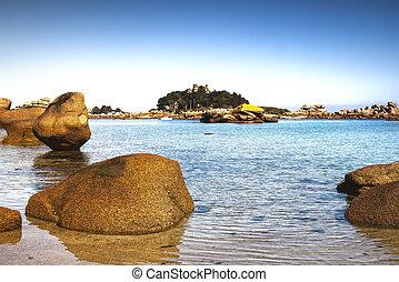 tengerpart., toned., brittany, kő, öböl, france., ploumanach