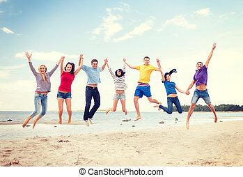 tengerpart, ugrás, csoport, barátok