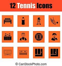 tenisz, állhatatos, ikon