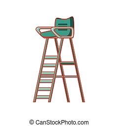tenisz, bástya, játékvezető, szék, ikon