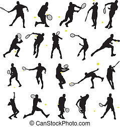 tenisz, beállít, árnykép, 20