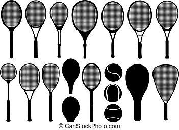 tenisz, különböző, állhatatos, ütős labdajáték