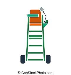tenisz, szék, játékvezető, ikon, bástya
