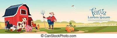 tenyésztés, farmland, állatok, háttér, farmer