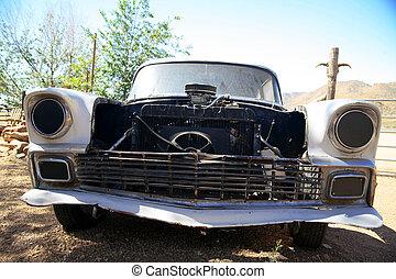 terület, arizona, öreg, usa, klasszikus, autó, amerikai, dezertál
