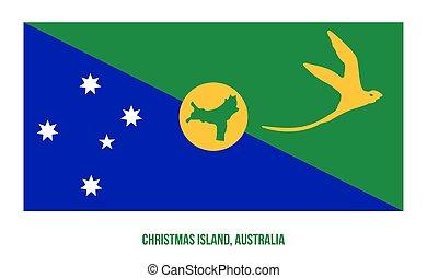 terület, ausztrália, fehér, háttér., christmas sziget, ábra, lobogó, vektor