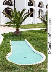 terület, mini golf, szakasz, hotel, látogató, játék, megvendégel, élvezet