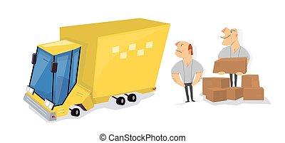 terhelés, service., inditványozók, dobozok, truck., szállít