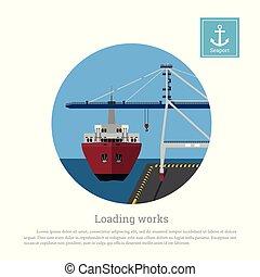 terhelés, teherárú tároló, port., hajó, kirakodás