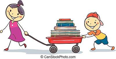terhelés, tehervagon, gyerekek, előjegyez, vontatás, bot