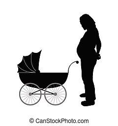 terhes, ábra, vektor, csapágyak, csecsemő, nők