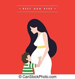 terhes, anyák, ábra, anyu, nap, kártya, boldog