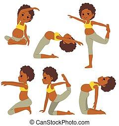 terhes, jóga, black woman, beállít