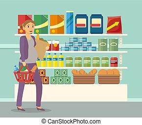 terhes nő, drogéria, táplálék készlet, vásárlás