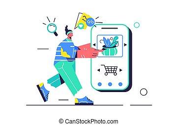 termék, leány, chooses, bolt, mozgatható