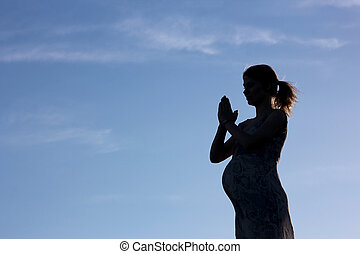 természet, árnykép, terhes nő