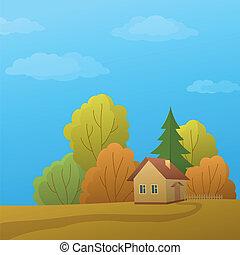 természet, épület, ősz nap
