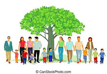 természet, család, ábra, jókedvű, csoport