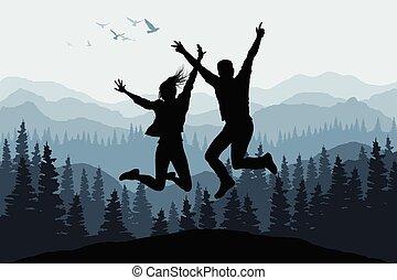 természet, emberek, ábra, körvonal, ugrás, erdő, háttér, boldog