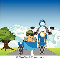 természet, emberek, közé, sidercar, motorkerékpár, év, jár, út