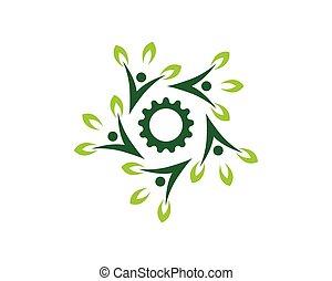 természet, emberek, vektor, egészség, sablon, jel