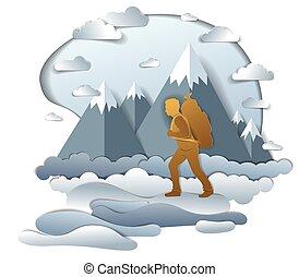 természet, hegy, természetjárás, füves táj, magas, climber., hátizsák, nyár, ember, vacations., át, csúcs, vektor, háttér., szállítás, ábra, színpadi, pasas, gyalogló, kiránduló