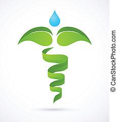természet, orvosi, -, zöld, pusztulásnak indult, orvosság, választás, jelkép