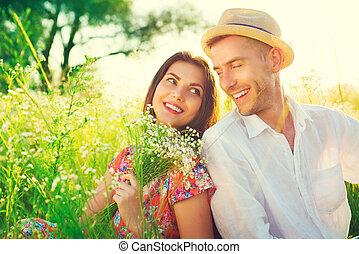természet, párosít, fiatal, szabadban, élvez, boldog