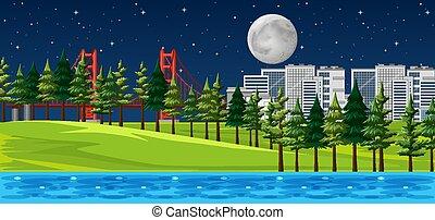 természet parkosít, színhely, dísztér város, éjszaka