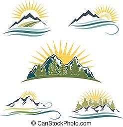 természet, set., napkelte, ikon, hegy
