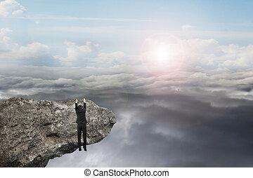természetes, ég, kéz, clou, napvilág, függő, üzletember, szirt