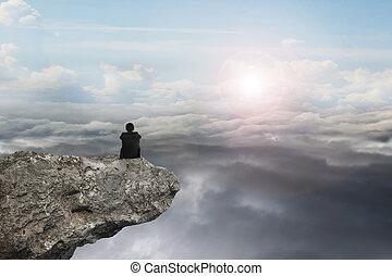 természetes, ülés, ég, napvilág, cloudscap, üzletember, szirt