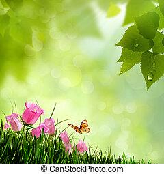 természetes, flowers., háttér, elvont, szépség