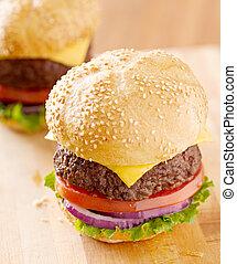 természetes, light., két, cheeseburgers