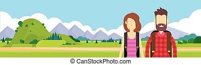 természetjárás, külső, utazó, párosít, bábu woman