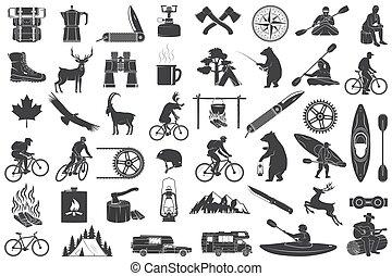 természetjárás, sátor, sport, erdő, white., gáz, hord, árnykép, kályha, elszigetelt, hegyek, felszerelés, goat, kempingezés, kés, csésze, kávécserje, vector., halászat, belevesz, ikonok, állhatatos, víz