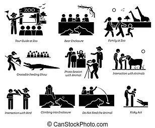 természetjáró, alak, család, pictogram, emberek, icons., állatkert, bot