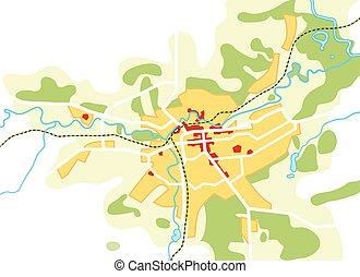 természetjáró, idegenvezető, városi, city., útvonal, chart., navigáció, földrajzi, elhelyezés, térkép