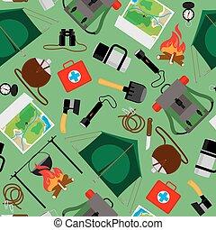természetjáró, kempingezés, tábor, pattern., seamless, vektor, erdő, háttér
