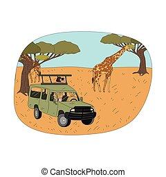 természetjáró, párosít, távcső, zsiráf, ülés, autó, látszó, fiatal